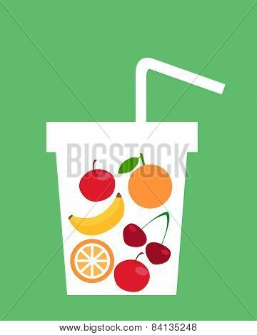 Fruit juice. Healthy lifestyle. A glass of fruit. Vector illustration.