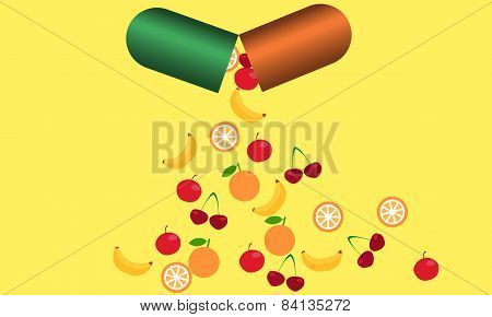 Tablet with vitamins. From the tablets fall fruits rich in vitamins. The concept of health.