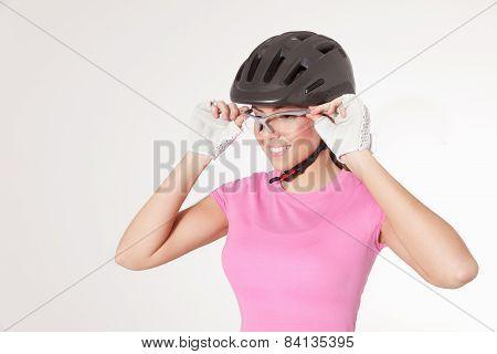 Woman Wearing Cycling Equipments