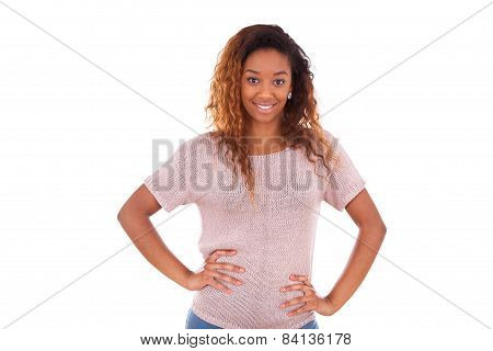 Happy Young African American Isolated On White Background - Black People