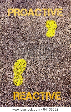 Yellow Footsteps On Sidewalk From Reactive To Proactive Message. Concept Image