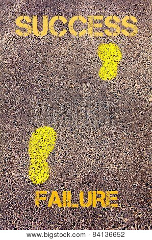 Yellow Footsteps On Sidewalk From Failure  To Success Message. Concept Image