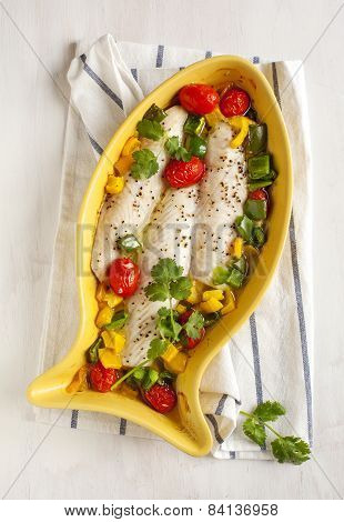 Baked Fish Fillet With Tomatoes And Sweet Peppers