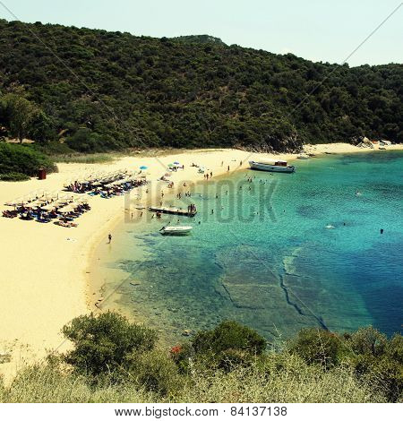 Sand Beach And Turquoise Sea, Ammouliani Island,  Greece