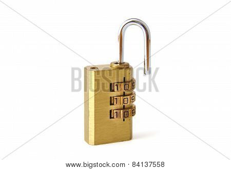 Used steel unlocked padlock on a white background