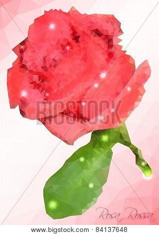 Vector Polygon Mosaic Of Pink Rose