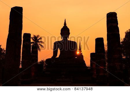 Silhouette Of Buddha In Sukhothai Historical Park, Sukhothai, Thailand