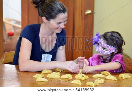 Hamantaschen Cookie Cooking In Purim Holiday