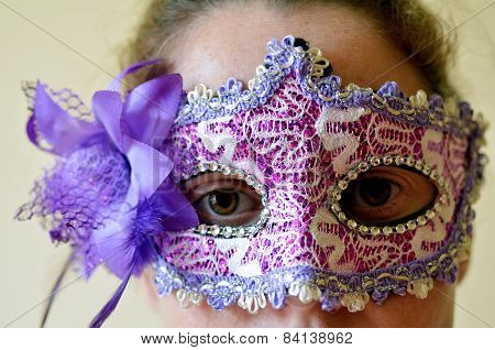Woman Wearing Vintage Venetian Mask