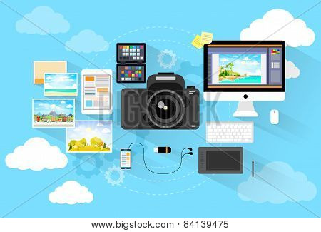 photographer workspace desk with camera computer icon flat design