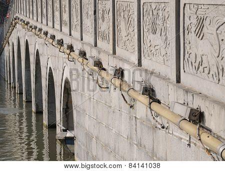 Asian style bridge over water