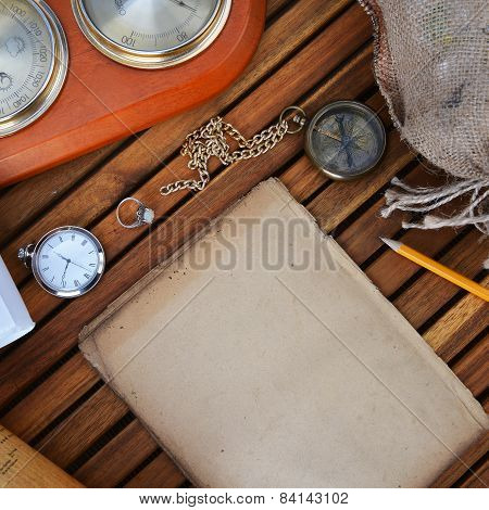 Compass, Watch And Old Paper