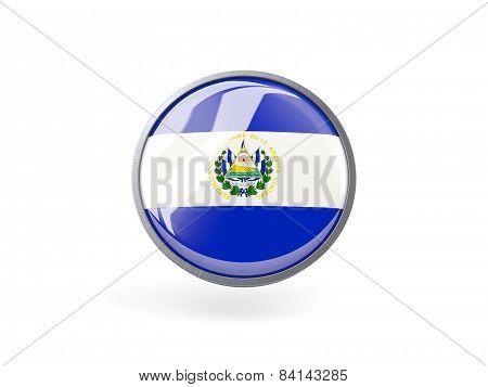 Round Icon With Flag Of El Salvador