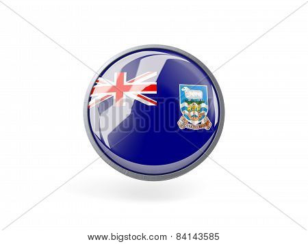 Round Icon With Flag Of Falkland Islands