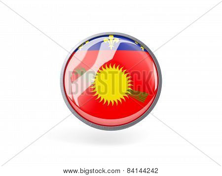Round Icon With Flag Of Guadeloupe