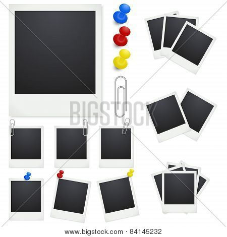 Set of retro Photo Frames With Clips And Thumbtacks On White Background.
