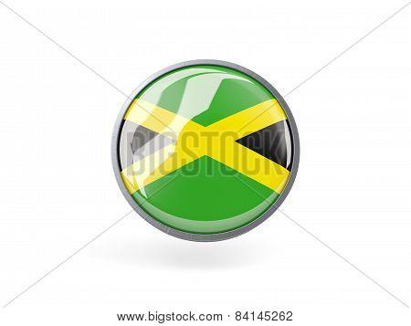 Round Icon With Flag Of Jamaica