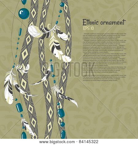 american indian ethnic feathers and beads vector background