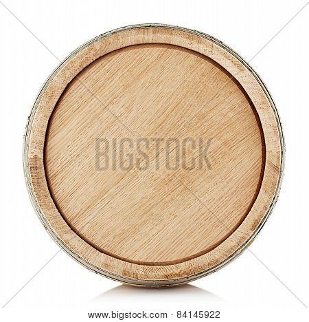 The top of a wooden barrel