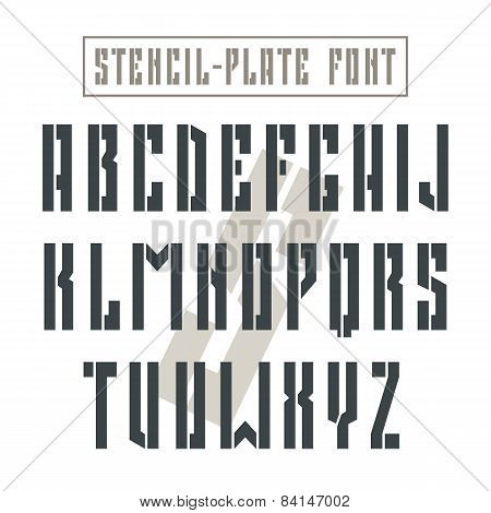 Bold Stencil-plate Sans Serif Font In Military Style