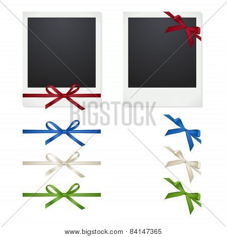 Set Polaroid Photo Frames With Bows On White Background.