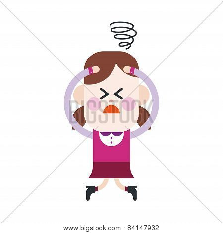 Character Illustration Design. Girl Confused Cartoon,