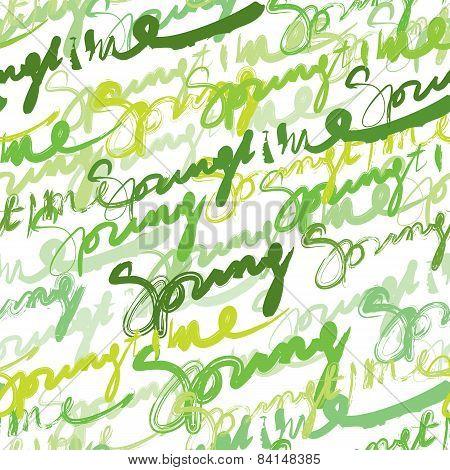 Seamless inscriptions Springtime