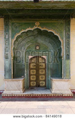 Green Gate In Pitam Niwas Chowk, Jaipur City Palace