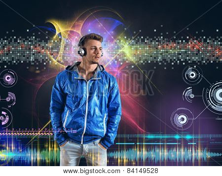 Boy listens to music