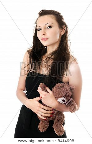 Playful Woman Taking Teddy-bear