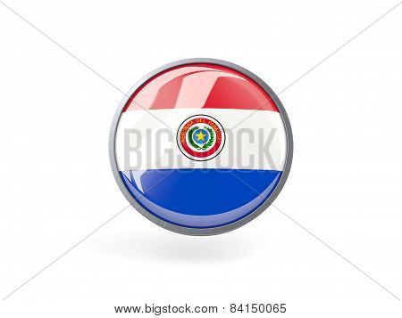 Round Icon With Flag Of Paraguay
