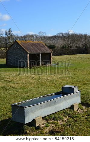 Livestock water trough with barn.