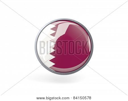 Round Icon With Flag Of Qatar