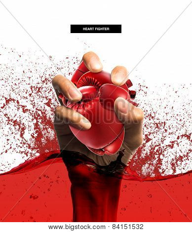 Heart Protection Medical Concept,heart Shape Made From Boxing Glove In Hand,on White Background.