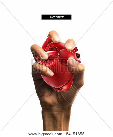 Heart Shape Made From Boxing Glove In Hand. Heart Protection Medical Concept.isolated On White With