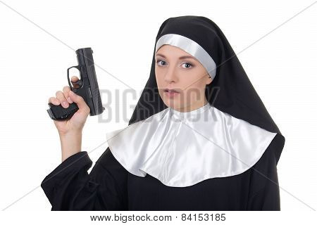 Young Woman Nun With Gun Isolated On White