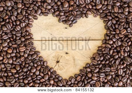 Heart Love Space For Sample Text Of Coffee Beans On Wood