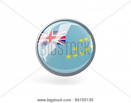 Round Icon With Flag Of Tuvalu