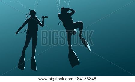Horizontal Illustration Of Divers Under Water.