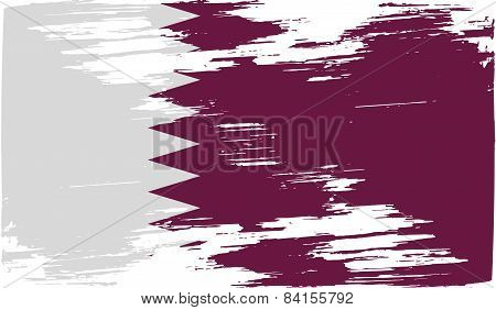 Flag Of Qatar With Old Texture. Vector