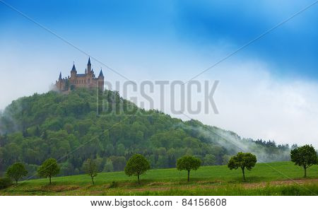 Beautiful Hohenzollern castle in haze at summer