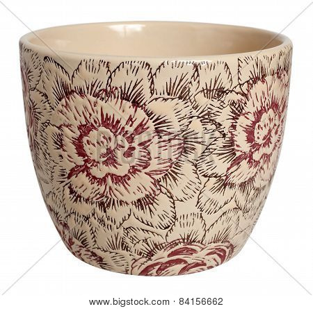 Vintage Look Decorative Ceramic Flowerpot Isolated On White, Clipping Path Included
