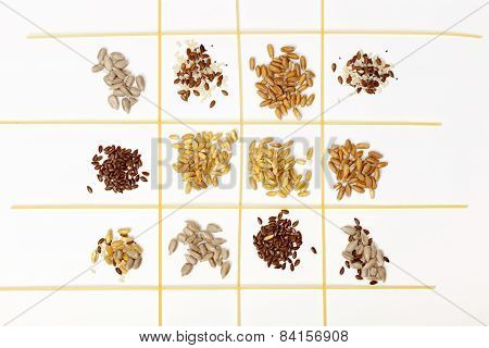 Collection Of Cereal Grains And Seeds -flaxseed; Corn; Wheat; Sunflower Seeds; Spelled; Rye; Sesame