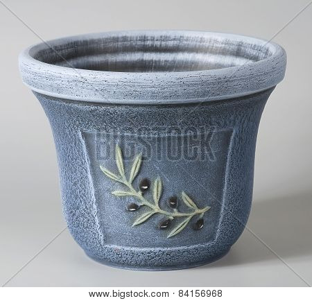 Pastel Blue Rustic Ceramic Flowerpot With Stylized Decorative Floral Ornaments