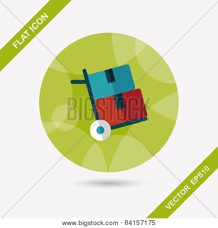 Shopping Handling Trolley Flat Icon With Long Shadow,eps10