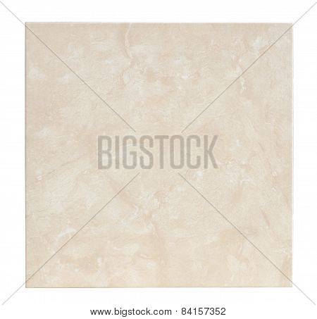 Floor Ceramic Tile With Marble Effect On White, Clipping Path Included