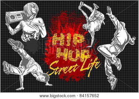 Hip hop and break dancers on dark background