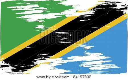 Flag Of Tanzania With Old Texture. Vector