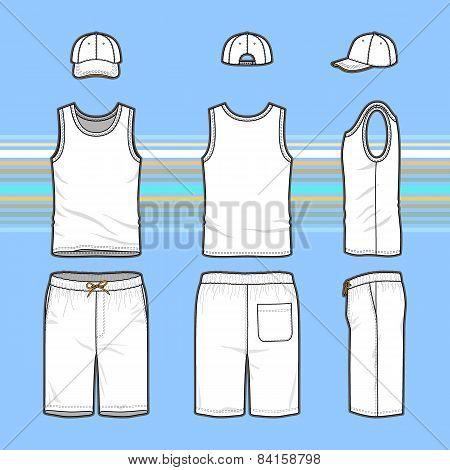 Men's T-shirt, Cap And Swim Shorts Set.