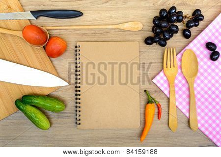 Food Ingredient And Kitchenware With Notebook